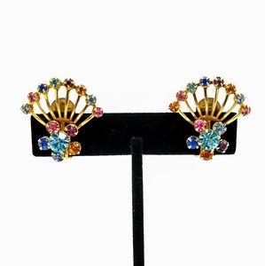 VTG Pastel Rhinestone Fans Clip Earrings